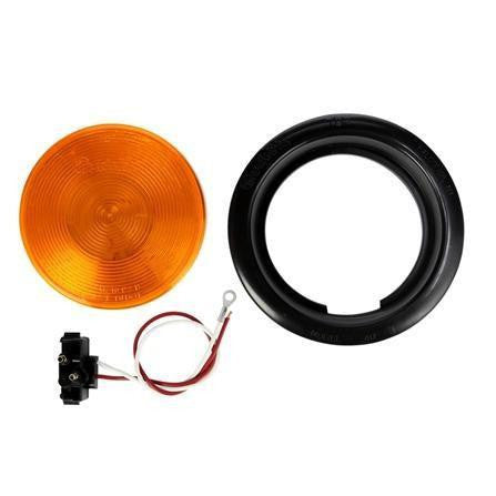 Truck-Lite 40001Y 40 Series Incan Yellow Round 1 Bulb Rear Turn Signal Black Grommet 12V Kit