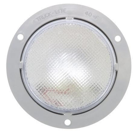 Truck-Lite 40023 40 Series, Incan., 1 Bulb, Clear, Round, Dome Light, Gray Flange, 12V, Kit