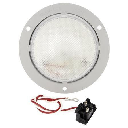 Truck-Lite 40023 Clear 40 Series Incan. Round 1 Bulb Dome Light Gray Flange 12V Kit