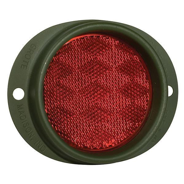 Grote 40162 Red Military Green truck reflectors, Steel Two-Hole