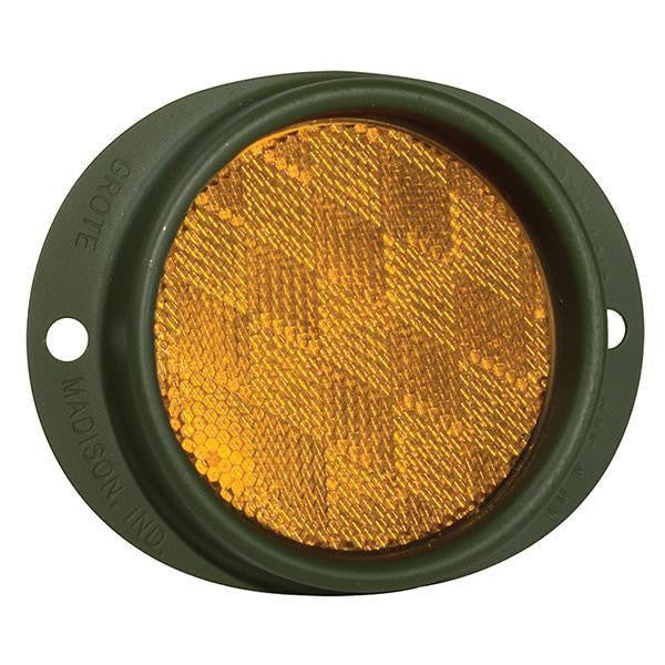 Grote 40163 Yellow Military Green Truck Reflectors, Steel Two-Hole