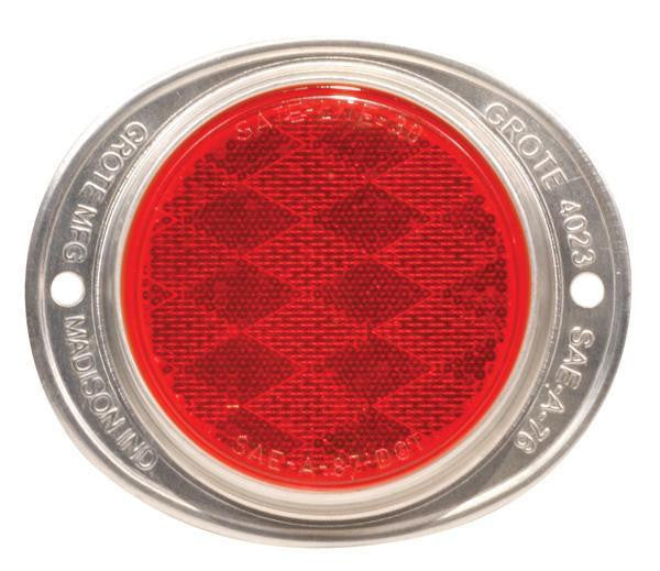 Grote 40192 Steel Two-Hole Mounting Reflector- Red, Silver Housing w/ Gasket