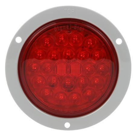 Truck-Lite 4053 LED, Red, Round, 24 Diode, Stop/Turn/Tail, Gray Flange, PL-3, 12V, Stop/Turn/Tail Light, Truck-Lite