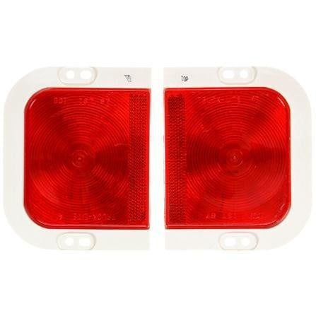 Truck-Lite 41008R 41 Series, Universal Kit, Incan., Red, Rectangular, 1 Bulb, S/T/T, White Flange, PL-3, Ring/Two-Position Plug, 12V, Kit, Stop/Turn/Tail Light, Truck-Lite