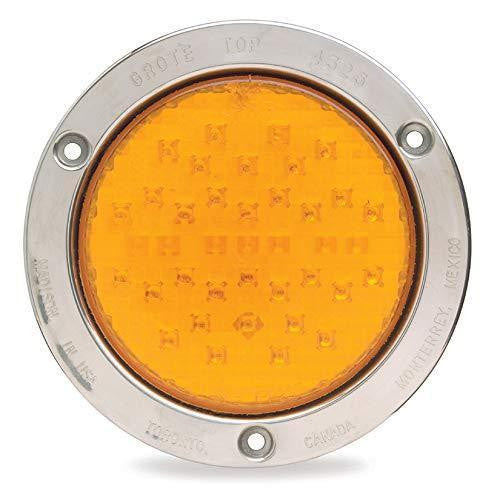Grote 53523 SuperNova® Full-Pattern LED Stop Tail Turn Light, Theft-Resistant Flange, 3 Pin, Rear Turn, Yellow