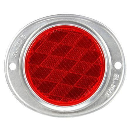 Truck-Lite 41 Round, Red, Reflector, Silver Aluminum 2 Screw or Bracket