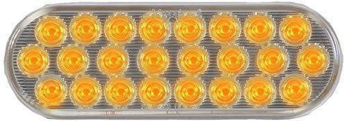 "Maxxima M63201YCL 24 LED Amber Clear Lens 6"" Oval LED Warning Flasher Light"