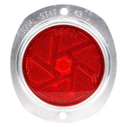 Truck-Lite 43 Armored, Round, Red, Reflector, Silver Aluminum 2 Screw or Bracket