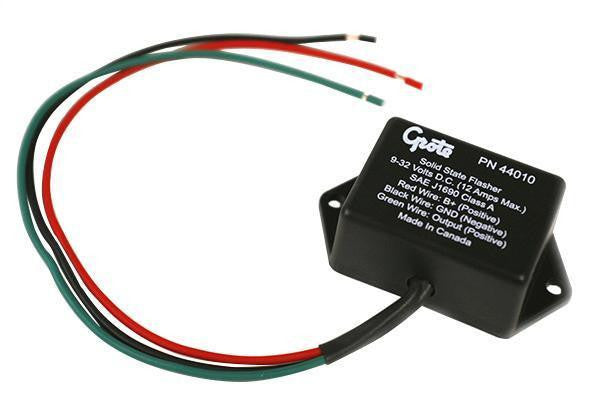 Grote 44010 Solid-State Electronic Flasher- 3 Wire, Black, Aluminum