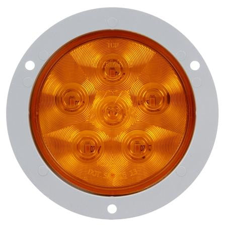 Truck-Lite 44285Y Super 44 LED Yellow Round 6 Diode Rear Turn Signal Gray Flange 12V