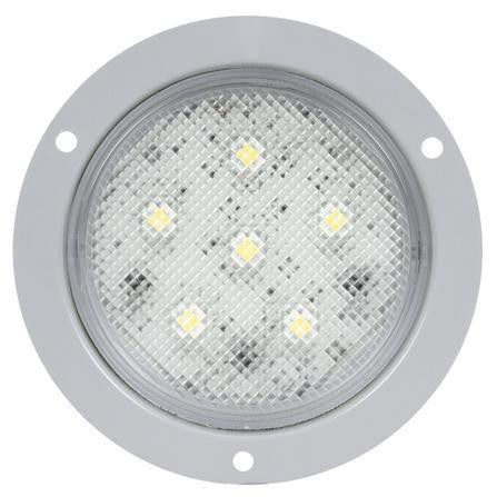 Truck-Lite 44339C Super 44, LED, 6 Diode, Clear, Round, Dome Light, Gray Flange, 12V