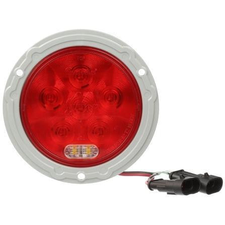 Truck-Lite 44551R Super 44, LED, Round, Red/Clear 8 Diode Stop/Turn/Tail & Back-Up, Gray Flange Mount, Hardwired, Fit 'N Forget S.S., 12V, Stop/Turn/Tail & Back-Up, Truck-Lite