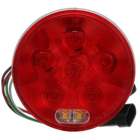 Truck-Lite 44556R Super 44, LED, Red/Clear, Round 8 Diode, S/T/T & Back-Up, Grommet, Fit 'N Forget S.S.,12V, Stop/Turn/Tail & Back-Up, Truck-Lite