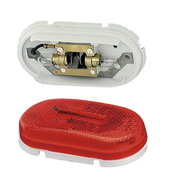 Grote 45932 Red Reflectorized Two Bulb Oval Pigtail-Type Clearace/Marker