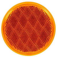 "Truck-Lite 47A Yellow 3-1/8"" Round Reflector Adhesive Mount"