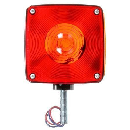 Truck-Lite 4800 Dual Face Vertical Mount Incan Red/Yellow Square 2 Bulb 3 Wire Pedestal Light