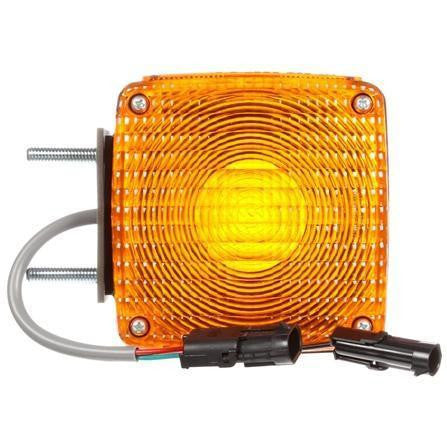 Truck-Lite 4805AAY115 Dual Face Vertical Mount Incan Yellow Square 2 Bulb 3 Wire Pedestal Light
