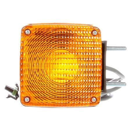Truck-Lite 4805AAY118 Dual Face Vertical Mount Incan Yellow Square 2 Bulb 3 Wire Pedestal Light