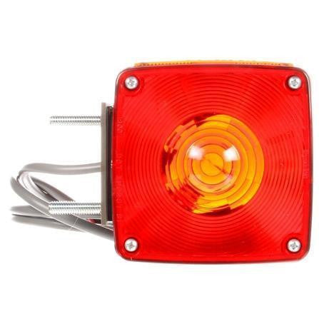 Truck-Lite 4805AY116 Dual Face LH Vertical Mount Incan Red/Yellow Square 2 Bulb 3 Wire Pedestal Light