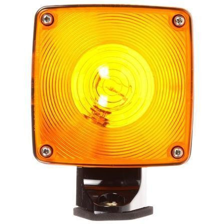 Truck-Lite 4872AA Dual Face Horizontal Mount Incan Yellow Square 1 Bulb Pedestal Light