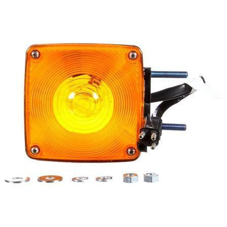 Truck-Lite 4874AY101 Dual Face Vertical Mount Incan Yellow Square 1 Bulb 3 Wire Pedestal Light