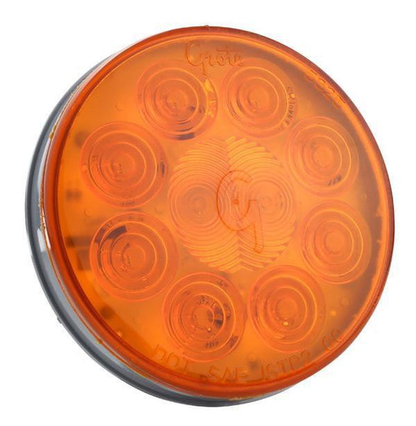Grote 53253 4 SuperNova 10-Diode Pattern LED Stop Tail Turn Light Grommet Mount, Male Pin, Auxiliary Turn