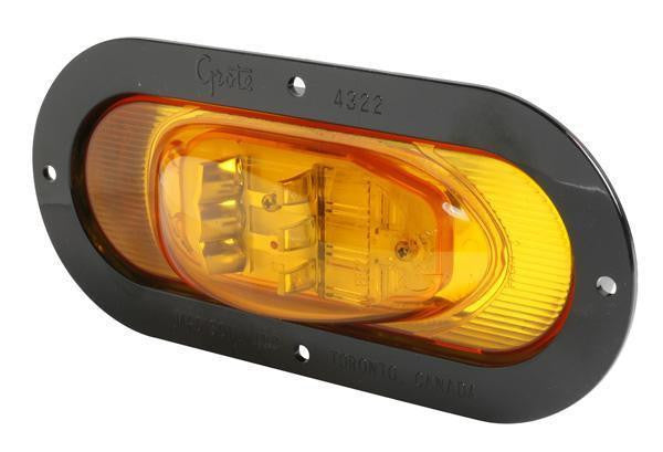 Grote 54253 SuperNova® Oval LED Side Turn Marker Light, Black Theft-Resistant Flange, Male Pin, Yellow