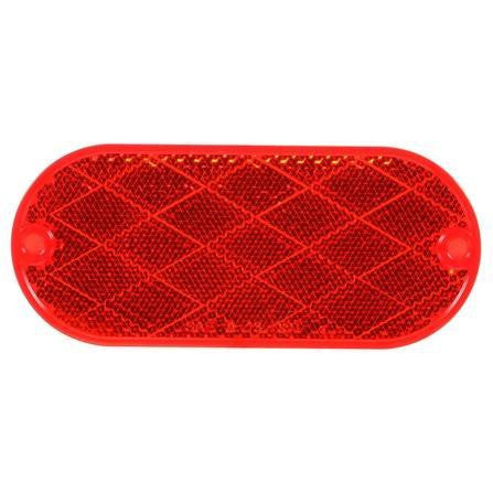Truck-Lite 98001R Oval, Red, Reflector, 2 Screw or Adhesive