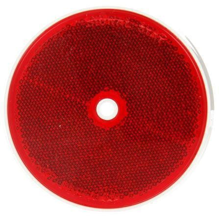 "Truck-Lite 57 3-1/2"" Round, Red, Reflector, White ABS 1 Screw"