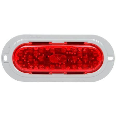 Truck-Lite 60052R 60 Series, LED, Red, Oval, 26 Diode, S/T/T, Gray Flange, Fit 'N Forget S.S., Straight PL-3 Female, 12V, Kit