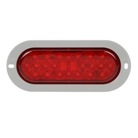Truck-Lite 6053 LED, Red, Oval, 24 Diode, S/T/T, Gray Flange, PL-3, 12V