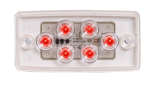 Maxxima M20361RCL Red 6 LED Clear Lens Flush Mount Cab Marker