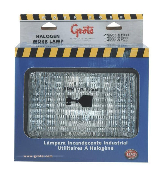 "Grote 63211-5 Flood 4"" x 6"" Rectangular Rubber Work Light"
