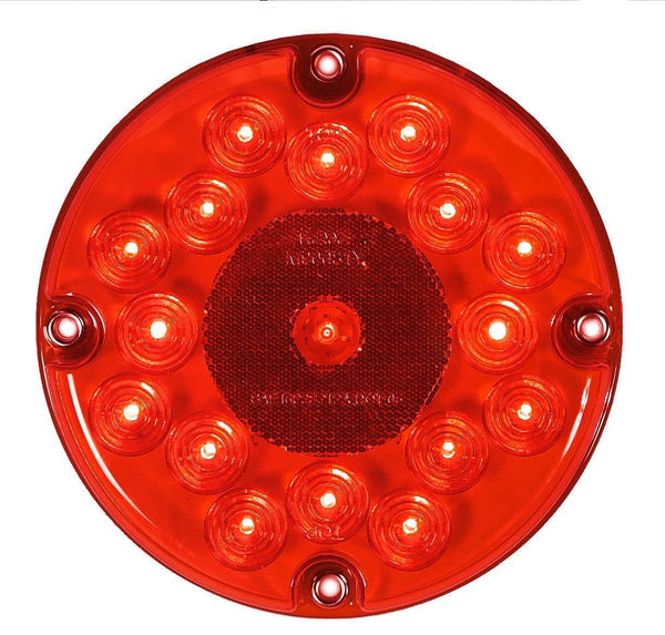 "Maxxima M90061R Red LED 7"" Round Stop/Tail/Turn Bus Light"