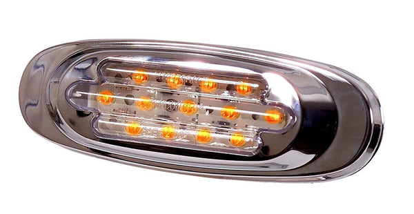 Maxxima M72270YCL Yellow/Clear Lens 13 LED Chrome Oval Clearance Marker
