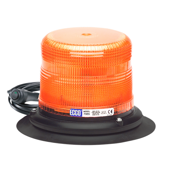 ECCO 7965A-VM Amber Dome LED, Pulse II, low profile, 12-24VDC Vacuum-Magnet