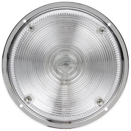 Truck-Lite 80355 80 Series, Incan., 1 Bulb, Clear, Round, Dome Light, Chrome Flange, 12V