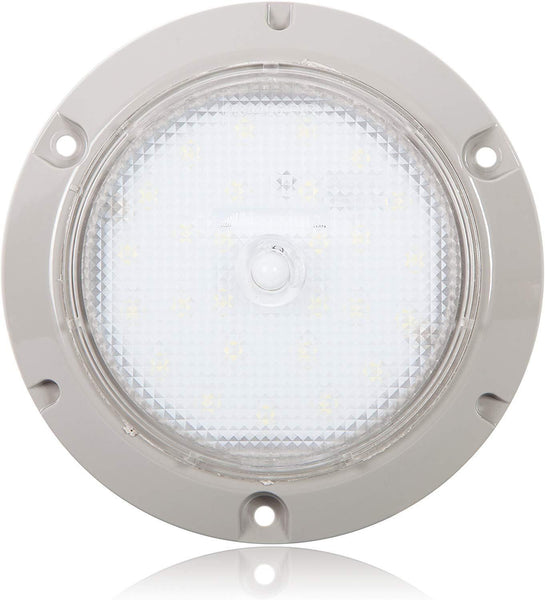 "Maxxima M84406-PIR Gray 5.50"" LED Dome Light 450 Lumens w/ PIR Sensor"