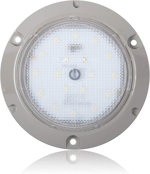 "Maxxima M84405-SW Gray 5.50"" LED Dome Light 18 Diode w/ Touch Switch"