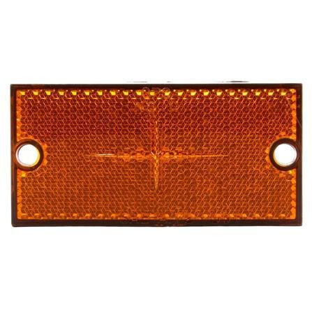 Truck-Lite 98035Y Rectangle, Yellow, Reflector, Black ABS 2 Screw,