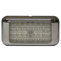 "ECCO EW0241 Interior LED 4.6"" Rectangle, Chrome, Switched, Surface Mount 12-24V - Levine Auto and Truck Lighting"