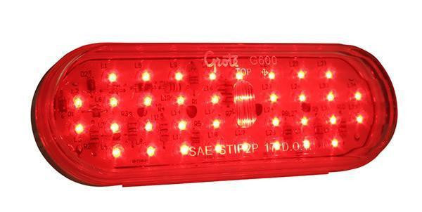 Grote G6012 Red w/ Clear Lens Hi Count® 56-Diode Oval LED Stop Tail Turn Light - Levine Auto and Truck Lighting