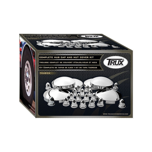Trux THUB-C2 Complete Chrome Hub Cap & Chrome ABS  Nut Cover Kit
