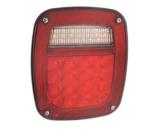 Grote G5212 Red Hi Count® LED Stop Tail Turn Light, LH w/ License Window & Side Marker - Levine Auto and Truck Lighting