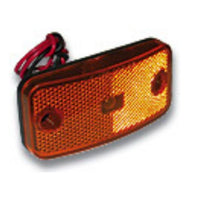 "Arrow A086-00-712 Amber Marker Light, Reflex Lens, White Base,  Twist Lock w/ 7"" Wire Leads. - Levine Auto and Truck Lighting"