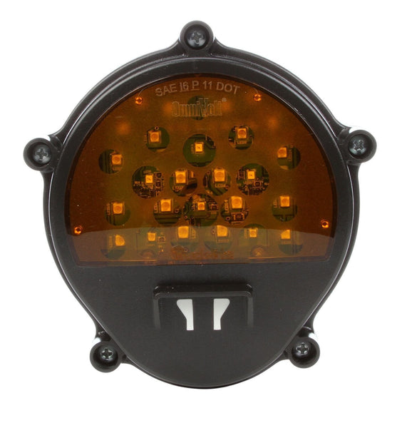 Truck-Lite 07357 Military Front Yellow LED, BLACK Composite Lamp w/o Bucket, Military Front LED Lights, Truck-Lite