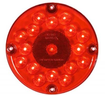 "Maxxima M90061R-DV Red LED 7"" Round Stop/Tail/Turn Bus Light, 12/24 Dual Voltage"