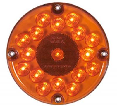 "Maxxima M90081Y-DV Amber 17 LED 7"" Round Park/Turn Bus Light, 12/24 Dual Voltage"