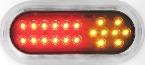 "Peterson 1223A-R-Amber MV LED STOP /TURN /TAIL CMB OVAL ECE SFC MOUNT 7.5""X3.25"" MULTI-VOLTAGE"