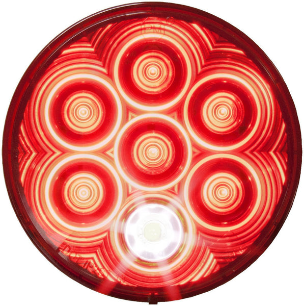 "Peterson 882K-7 Red LumenX® 4"" Round LED Combo S/T/T & Back-Up Light, Grommet Mount Kit"